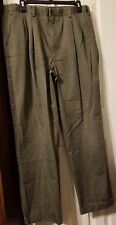 Geoffrey Beene Mens 36x32 Olive Khaki Pant Cotton Pleated GREAT!