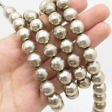 """Vtg 925 Sterling Silver Large Bead Long Chain Necklace 30"""""""