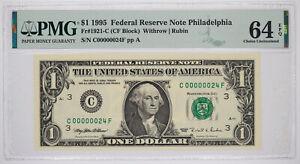 1995 $1 FEDERAL RESERVE NOTE PHILADELPHIA FR#1921-C PMG 64 EPQ LOW SERIAL 24
