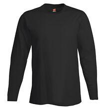 Hanes 498l Tagless Nano-t Mens Long-sleeve Tee Extra Large Black