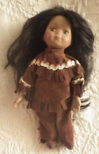 "Indian Girl Doll Porcelain Face & Hands Toy 8"" Tall"