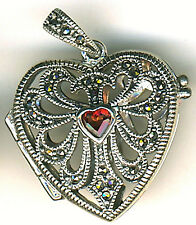 "925 Sterling Silver Garnet & Marcasite Heart Locket / Pendant    Length 1.1/4"""
