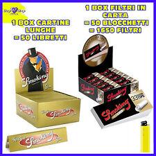 CARTINE Smoking LUNGHE Oro Gold 50 pz + FILTRI di CARTA SMOKING a cartoncino 50
