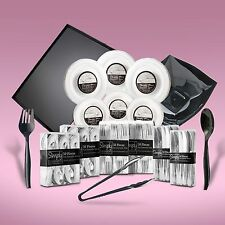 440 Piece Disposable Dinner Set Serving Platters & Bowls With Silver Rims For 60