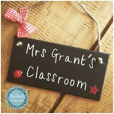 Classroom Sign Chalkboard Personalised Plaque Welcome Door Gift Present Teacher