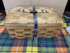 VINTAGE WOVEN WOODEN BAMBOO STORAGE HAMPER BASKET PICNIC BOX