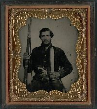 Photo Civil War Confederate With Musket Sword Bayonet Bowie Knife Pistol