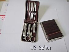 9 PCS Pedicure/Manicure Set Nail Clippers Cleaner Cuticle Grooming Kit Case USA