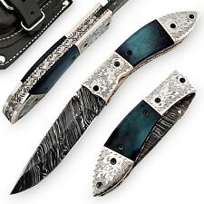 Handmade Damascus Steel Blue Mist Folding Pocket Knife