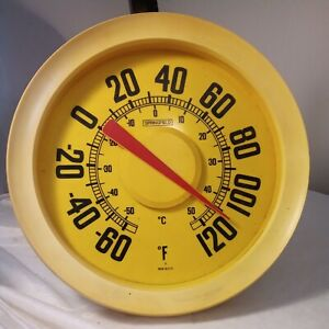 VINTAGE YELLOW Round Indoor/Outdoor Analog Dial Thermometer MADE IN USA