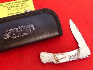 Buck USA Duke 500 Painted Pony Locking custom filework mint knife-stand- knife