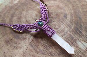 Macrame Necklace Jewelry Cabo Rose Quartz crystal point Healing Stone Handmade