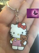 BRAND NEW 2018 PVC HELLO KITTY WITH TEDDY KEYRING  156