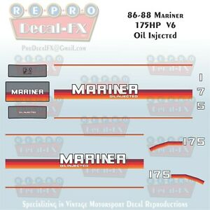 86-88 Mariner 175HP Oil Injected Outboard Reproduction 14Pc Decals Marine Vinyl