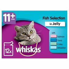 WHISKAS 11+ Cat Pouches Fish Selection in Jelly 12 x 100g