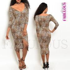 Rayon V-Neck Midi Dresses for Women