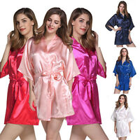 Women Silk Satin Robe Bridal Wedding Bridesmaid Bride Kimono Dressing Gown Solid