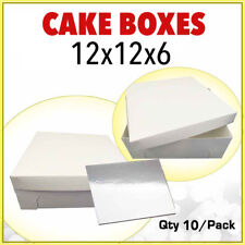 Cake Boxes 12 x 12 x 6 10 P/c + 10 P/c Boards 12 Inches Square Silver Bulk Buy