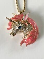 Betsey Johnson Necklace Unicorn Pink Gold Crystals Gift Box Organza Bag Lk