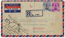 MALAYA 1953 REGISTERED AIR MAIL KUALA LAMPUR TO DEVAKOTTAI SOUTH INDIA