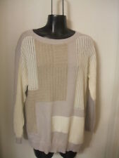 Lafayette 148 New York Sweater Colorblock Taupe Gray White Open Weave Small S