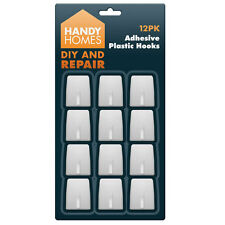 12 Pack Self Adhesive Strong  Plastic Hooks Sticky Wall Door DIY HOOKS
