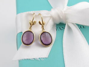 Tiffany & Co Picasso 18K Gold Amethyst Dangle Earrings Box Included