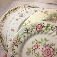 4 Vintage Mismatched China Dinner Plates Green And Pink Floral Wedding #263