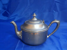 Vintage CHROME or SILVER PLATED HINGED COPPER TEAPOT - MARKED M B & CO.