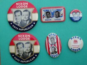 Lot of 6 Vintage RICHARD NIXON LODGE Political Campaign Buttons Pins Pinback