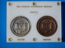 Official Hawaii Statehood Bronze & Silver Set wHard Plastic Display 1st striking