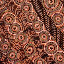 Cotton Fabric SALT LAKE YELLOW/ORANGE - Australian Aboriginal Art Fabric *TAF