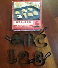 Williams Sonoma Pancake Molds ABC 123 Lot of 6 Nonstick Metal