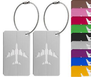 Kofferanhänger Gepäckanhänger aus Metall mit Namensschild und Flug-Motiv 2 Stück