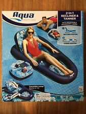 Aqua 2 in 1 Recliner And Tanner Pool Lounge Float w/Removable Caddy Cup Holder