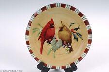 "Lenos Winter greetings Cardinal 8.5"" Salad / Luncheon Plate Plaid Border 6421"