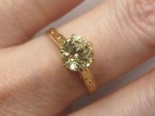 14ct Gold Yellow Sapphire Solitaire Ring - Handmade & Hand Engraved - Size M 1/2
