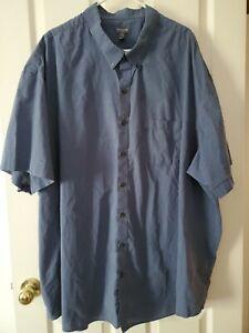 Van Heusen 5XLT Mens Button Down Short Sleeve Dress Shirt Blue Flex