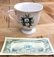 """Anthropologie Monogram Letter H Coffee Mug Cup Footed """"H"""" White Black Floral GUC"""