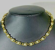 """Delicate Necklace Faux Pearls Encased in Gold Tone Wire Caging Wrapped 17"""""""