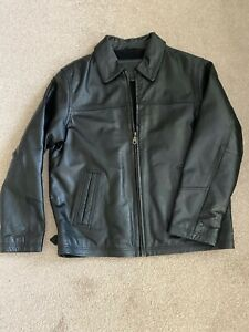 Men's Ciro Citterio Black Leather Jacket Size S Fits 38-40 Chest