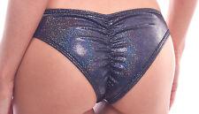 BodyZone Apparel Black Shimmer Scrunch Back Bikini Panties. O/S. Made in USA.
