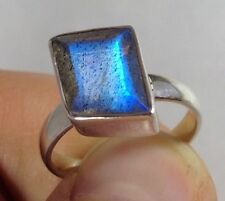 labradorite faceted ring solid Sterling Silver, uk size L (smallish). New.