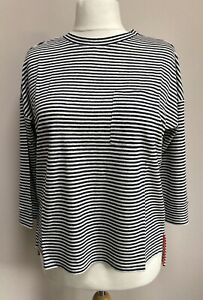 Boden Ottilie Ladies Linen Size 12 Top In Navy Ivory Stripe BNWT