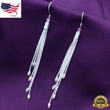 Womens 925 Sterling Silver Long Tassel Drop Dangle Hook Fashion Earrings #E208