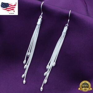 Womens 925 Sterling Silver Long Tassel Drop Dangle Hook Fashion Earrings #E208