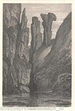 Antique print Hexentanzplatz Harz Rosstrappe Thale 1865 holzstich