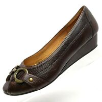 Nurture Womens Brown Leather Size 8 M  Peep Toe Slip On Wedge Casual Work Shoes