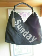 "Hobo Bag Black Denim with a Silver Encrusted ""SUNDAY"" Logo"