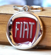 Classic Fiat Badge Red Silver Metal Keyring Spider Punto 500 500x Panda